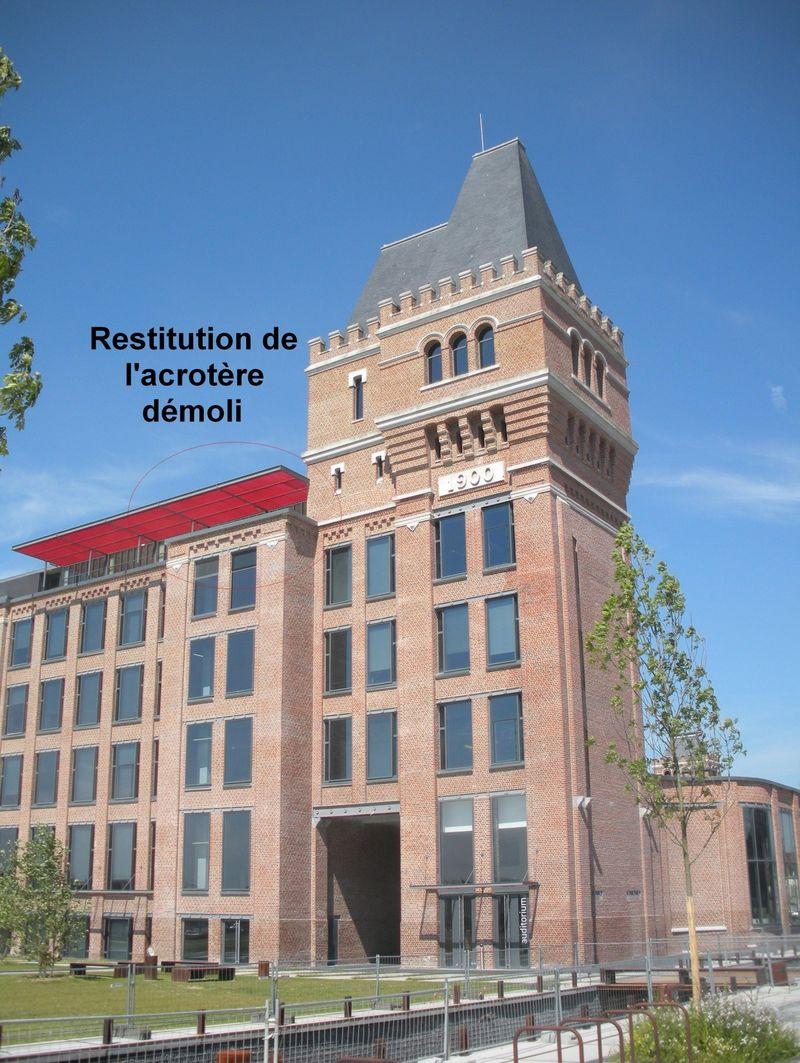 Restitution de l'acrotère déomoli Usine Leblan-Lafon